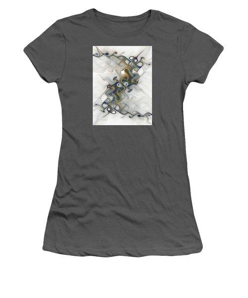 Women's T-Shirt (Junior Cut) featuring the digital art Fine Traces by Karin Kuhlmann