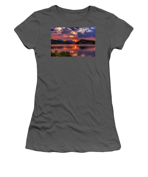 Fire On The Water Reflections Women's T-Shirt (Athletic Fit)