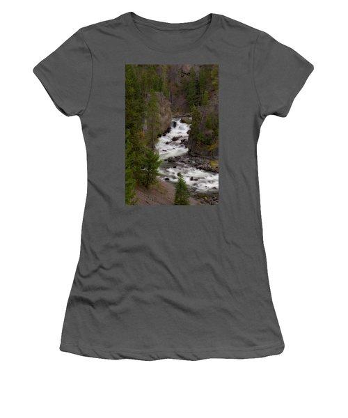 Women's T-Shirt (Junior Cut) featuring the photograph Firehole Canyon by Steve Stuller