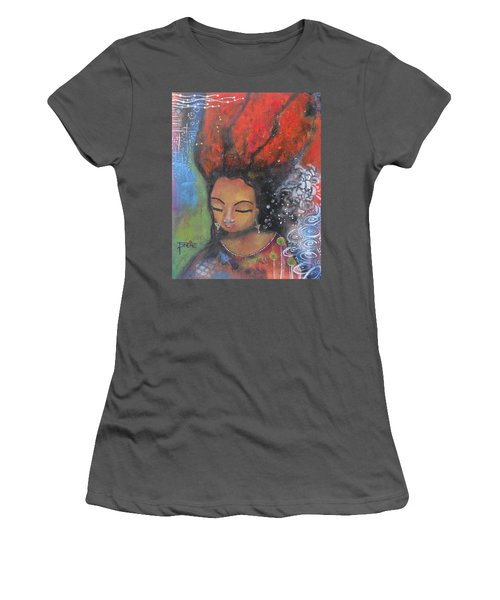 Firey Hair Girl Women's T-Shirt (Junior Cut) by Prerna Poojara
