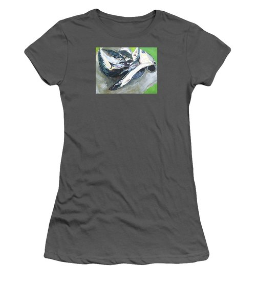Fish On A Table Women's T-Shirt (Athletic Fit)