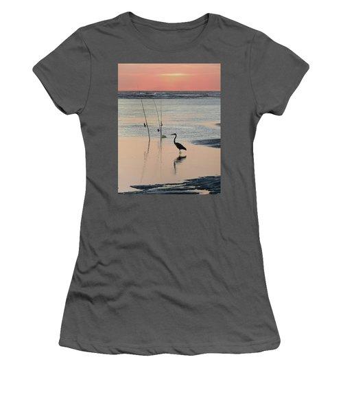 Fisherman Heron Women's T-Shirt (Junior Cut) by Deborah Smith