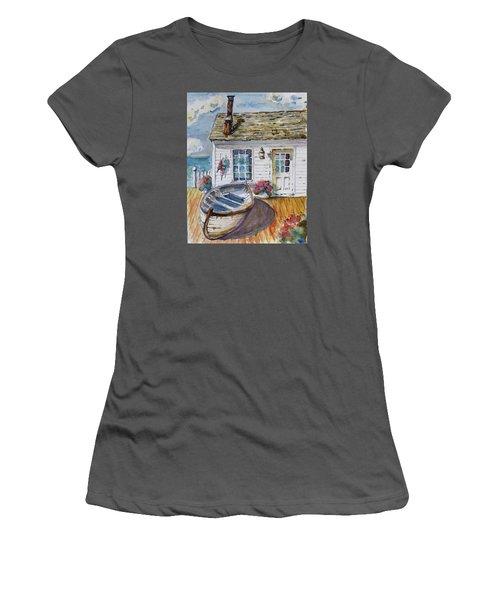 Fisherman's Cottage Women's T-Shirt (Junior Cut) by P Maure Bausch