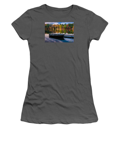 Women's T-Shirt (Junior Cut) featuring the photograph Fishing Boat On Mirror Lake by Rikk Flohr