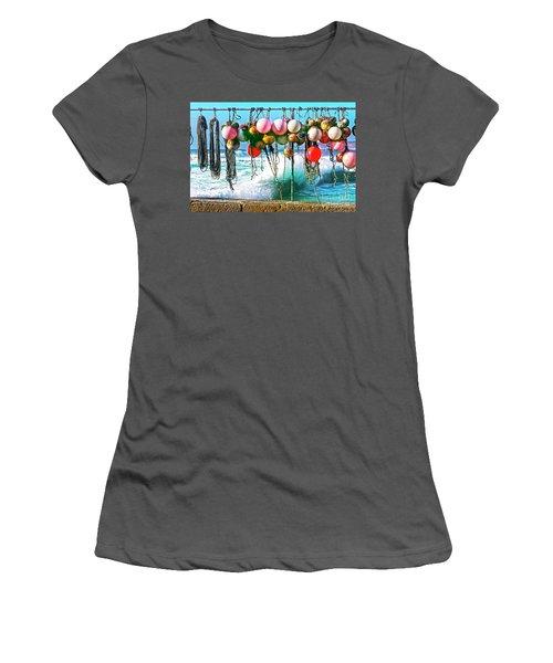Women's T-Shirt (Junior Cut) featuring the photograph Fishing Buoys by Terri Waters