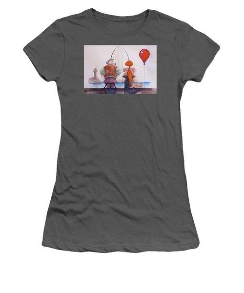 Women's T-Shirt (Junior Cut) featuring the painting Fishing With Grandpa by Geni Gorani