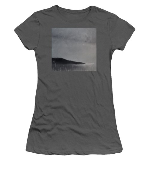 Women's T-Shirt (Junior Cut) featuring the painting Fjord Landscape by Tone Aanderaa