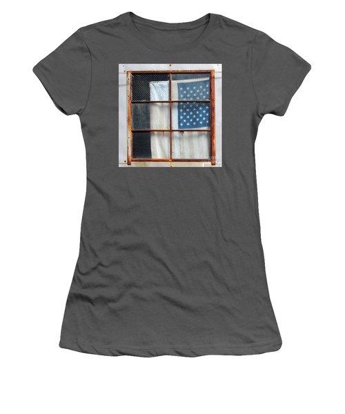 Flag In Old Window Women's T-Shirt (Junior Cut) by Cheryl Del Toro