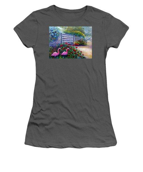 Women's T-Shirt (Junior Cut) featuring the painting Flamingo Gardens by Lou Ann Bagnall