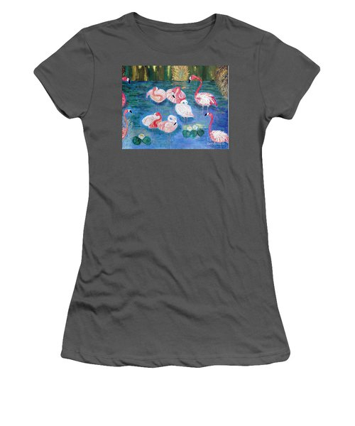 Flamingos Diptich Right Women's T-Shirt (Junior Cut) by Vicky Tarcau