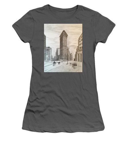 Flatiron Study Women's T-Shirt (Junior Cut) by Tony Clark
