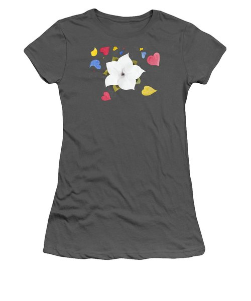 Women's T-Shirt (Junior Cut) featuring the painting Fleur Et Coeurs by Marc Philippe Joly