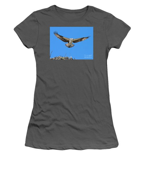 Women's T-Shirt (Athletic Fit) featuring the photograph Flight Practice Over The Nest by Debbie Stahre