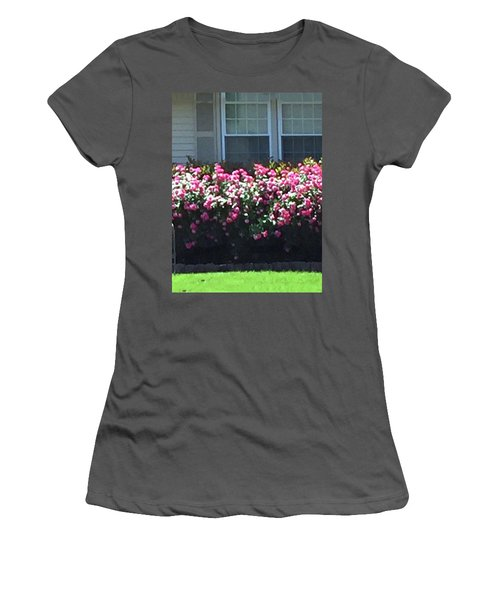 Women's T-Shirt (Athletic Fit) featuring the photograph Flowers Floral Presentation Home Decorations Gifts For Christmas Holidays Birthday Anniversary Mom  by Navin Joshi