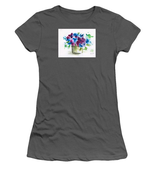 Flowers In A Glass Vase Abstract Women's T-Shirt (Junior Cut) by Frank Bright