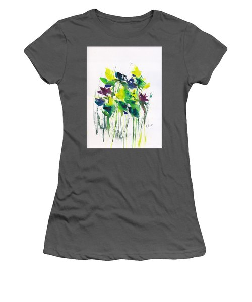 Flowers In Grass Abstract Women's T-Shirt (Athletic Fit)