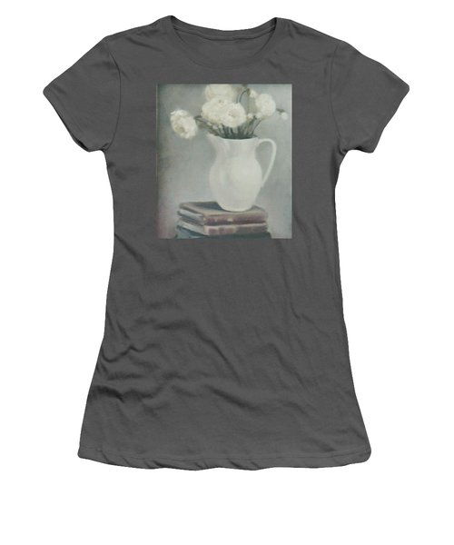 Flowers On Old Books Women's T-Shirt (Athletic Fit)