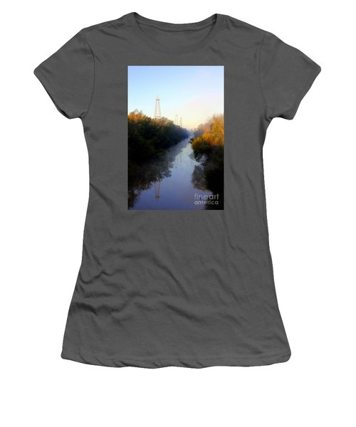 Foggy Fall Morning On The Sabine River Women's T-Shirt (Athletic Fit)