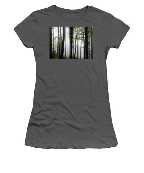 Women's T-Shirt (Junior Cut) featuring the photograph Foggy Forest by Chevy Fleet