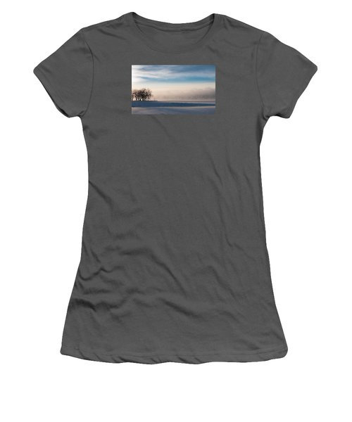 Women's T-Shirt (Junior Cut) featuring the photograph Foggy Morning At Lake Loveland by Monte Stevens
