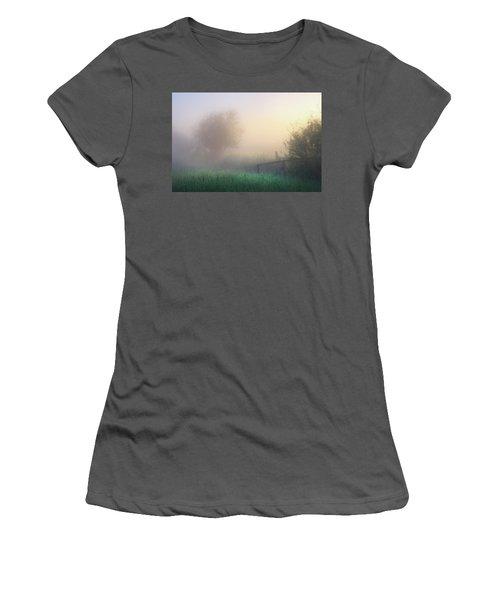 Women's T-Shirt (Junior Cut) featuring the photograph Foggy Morning by Dan Jurak