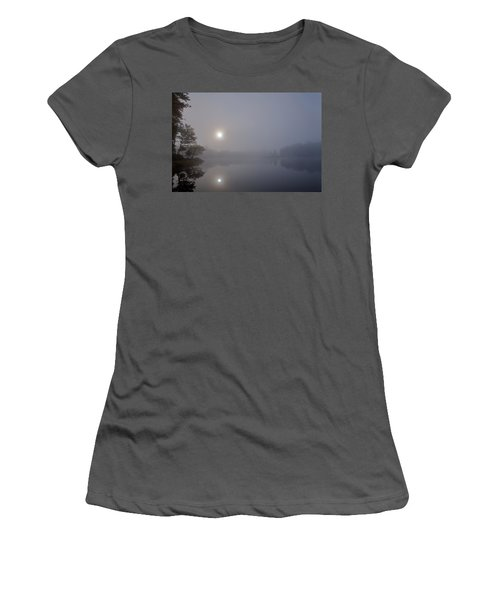 Women's T-Shirt (Athletic Fit) featuring the photograph Foggy Sunrise On West Lake by David Patterson