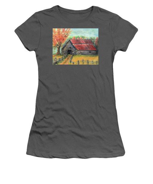Women's T-Shirt (Athletic Fit) featuring the painting Follow The Lantern - Early Morning Barn- Anne's Barn by Jan Dappen