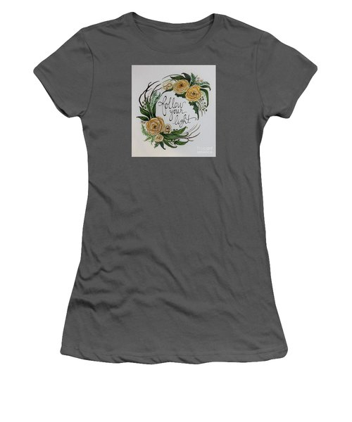 Women's T-Shirt (Junior Cut) featuring the painting Follow Your Light by Elizabeth Robinette Tyndall