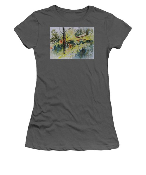 Women's T-Shirt (Junior Cut) featuring the painting Forest Giant by Joanne Smoley