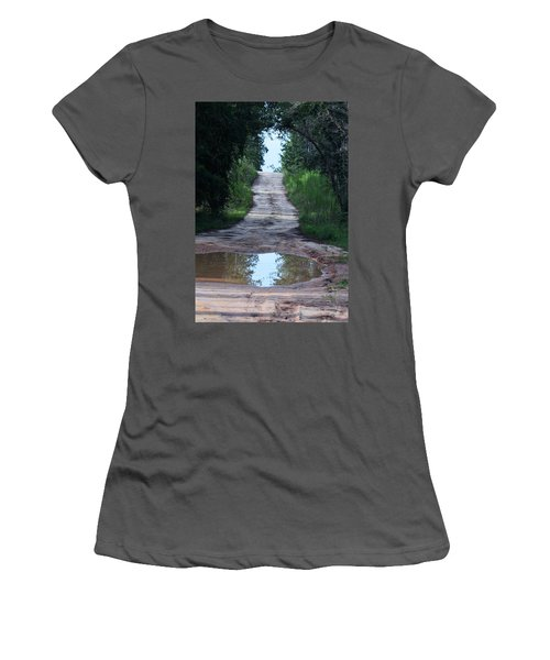 Forest Road And Puddle Women's T-Shirt (Athletic Fit)