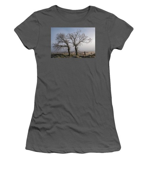 Women's T-Shirt (Athletic Fit) featuring the photograph Forever Buddies Facing The Fog by Jeremy Lavender Photography
