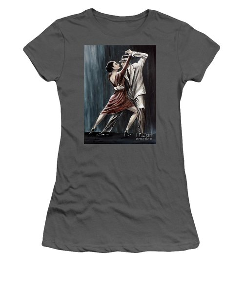 Women's T-Shirt (Junior Cut) featuring the painting Forever Tango by Judy Kirouac