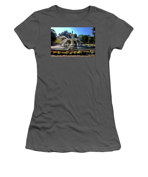 Forsyth Fountain In Spring Women's T-Shirt (Athletic Fit)