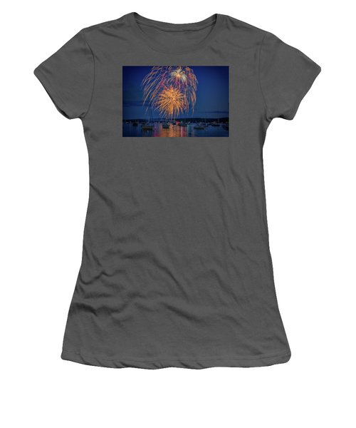 Women's T-Shirt (Athletic Fit) featuring the photograph Fourth Of July In Boothbay Harbor by Rick Berk
