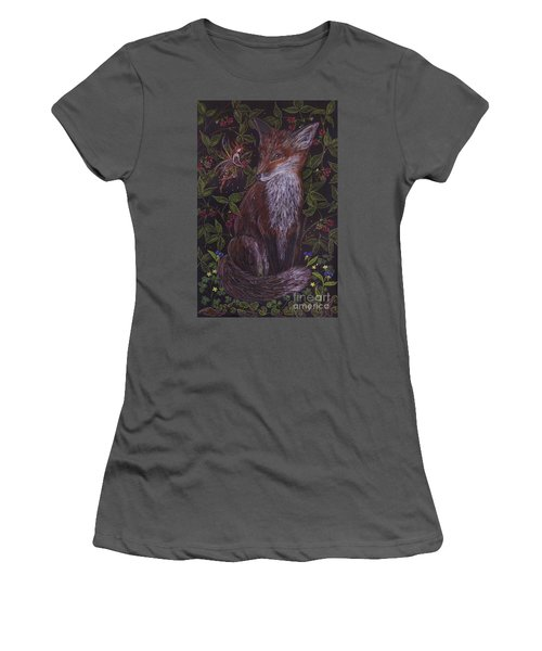 Women's T-Shirt (Junior Cut) featuring the drawing Fox In The Berry Bushes by Dawn Fairies