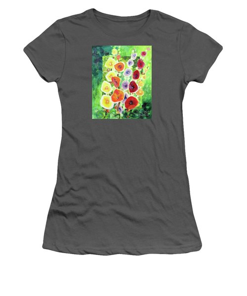 Women's T-Shirt (Junior Cut) featuring the painting Framed In Hollyhocks by Kathy Braud