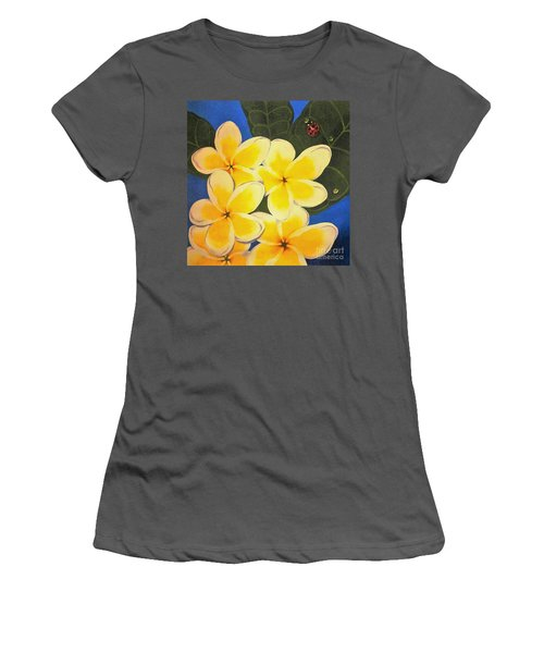 Women's T-Shirt (Junior Cut) featuring the painting Frangipani With Lady Bug by Sandra Phryce-Jones