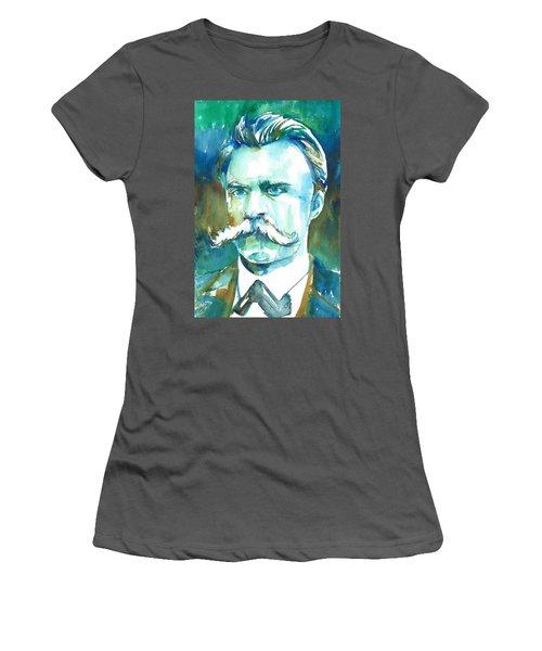 Friedrich Nietzsche Watercolor Portrait.1 Women's T-Shirt (Athletic Fit)