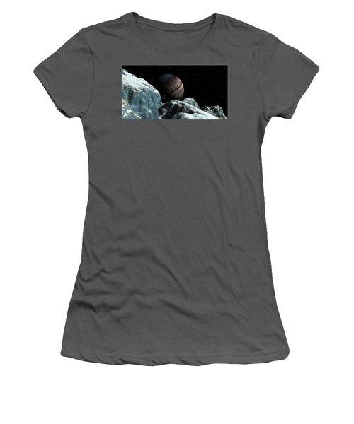 Women's T-Shirt (Junior Cut) featuring the digital art Frozen Blue Gem by David Robinson
