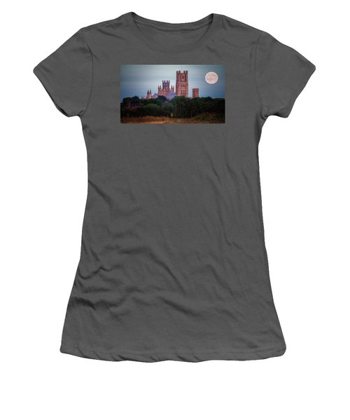 Full Moon Over Ely Cathedral Women's T-Shirt (Athletic Fit)