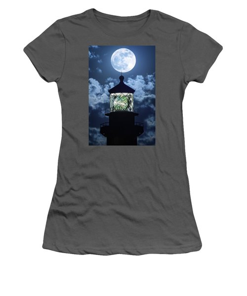 Full Moon Over Hillsboro Lighthouse In Pompano Beach Florida  Women's T-Shirt (Athletic Fit)