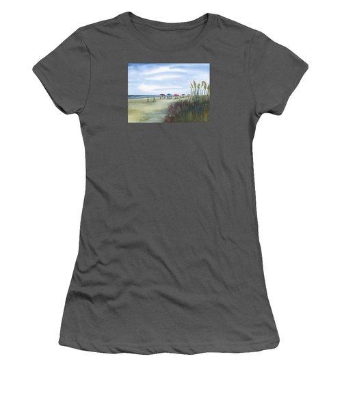 Fun At Folly Field Beach Women's T-Shirt (Junior Cut) by Frank Bright