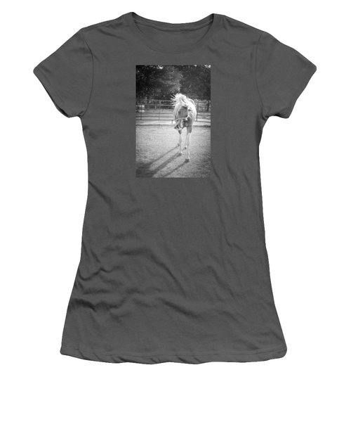 Funny Horse In Black And White Women's T-Shirt (Junior Cut) by Kelly Hazel