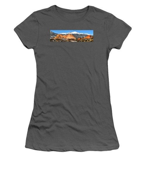 Women's T-Shirt (Junior Cut) featuring the photograph Garden Of The Gods Medium Panorama by Adam Jewell