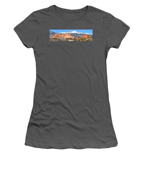 Women's T-Shirt (Junior Cut) featuring the photograph Garden Of The Gods Panorama by Adam Jewell