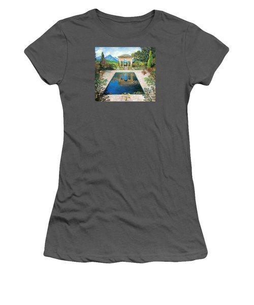 Women's T-Shirt (Junior Cut) featuring the painting Garden Reflection Pool by Lou Ann Bagnall