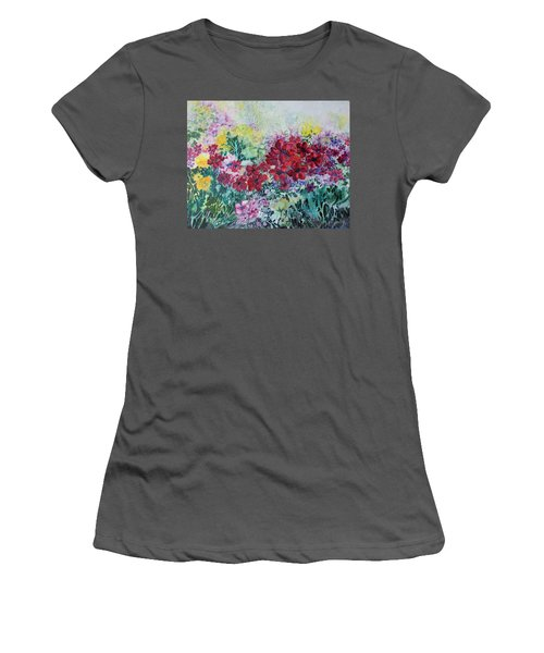Women's T-Shirt (Junior Cut) featuring the painting Garden With Reds by Joanne Smoley