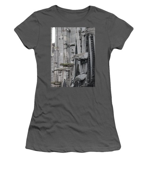 Women's T-Shirt (Junior Cut) featuring the photograph Gargoyles North Notre Dame by Christopher Kirby