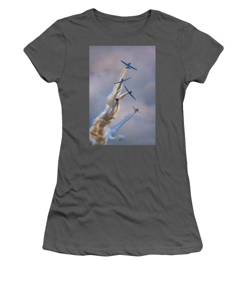Women's T-Shirt (Athletic Fit) featuring the photograph Geico Skytypers Tree Of Smoke by Rick Berk