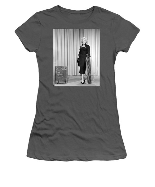 Women's T-Shirt (Athletic Fit) featuring the photograph Gentlemen Prefer Blondes Staring Marilyn Monroe by R Muirhead Art